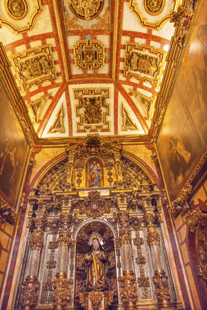 convento: Convento de Santa Teresa Basilica Altar Avila Castile Spain.  Convent founded in 1636 for Saint Teresa, Catholic nun, Counterreformation author, and Spanish mystic, who founded the Carmelite order. Died in 1582 and made a saint in 1614. Editorial