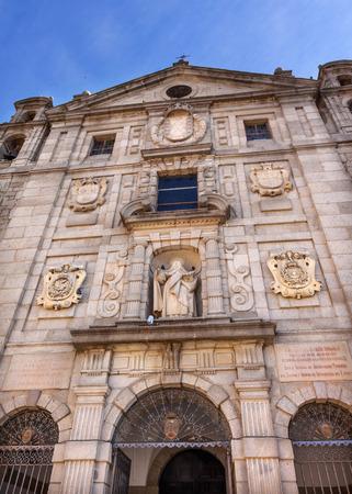 Convento de Santa Teresa Facade Statue Swallows Avila Castile Spain. Stock Photo