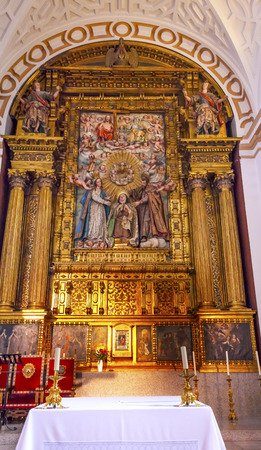 Convento de Santa Teresa Basilica Altar Avila Castile Spain.  Convent founded in 1636 for Saint Teresa, Catholic nun, Counterreformation author, and Spanish mystic, who founded the Carmelite order. Died in 1582 and made a saint in 1614. Editorial
