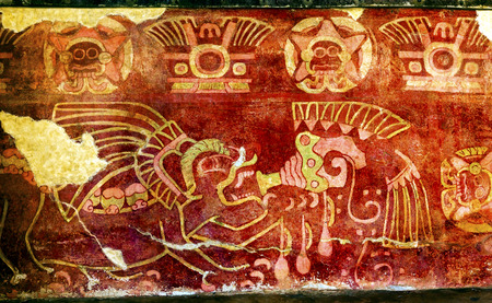 Ancient Drinking Tequila Pulque Painting Mural Wall Indian Ruins at Teotihuacan Mexico City Mexico.  Palace of Quetzalpapaloli.  Ancient ruins date back to 100 to 750AD. Editorial