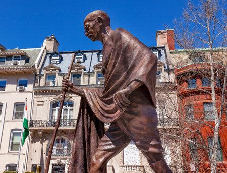 pal: Mahatma Mohandas Gandhi Public Statue Front of Indian Embassy Embassy Row Massachusetts Ave Washington DC.  Gandhi is walking to sea on salt march.  Dedicated September 2000,  Artist Gautam Pal