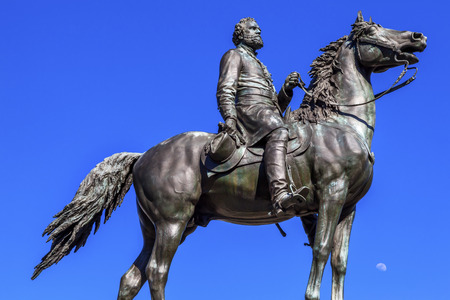george washington statue: Major General George Henry Thomas Memorial Civil War Statue Moon Thonmas Circle Washington DC.  Bronze statue dedicated in 1879; sculptor is John Quincy Adams Ward.  Public monument owned by the National Park Service. Statue depicts Thomas riding his hors Editorial