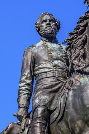 john henry: Major General George Henry Thomas Memorial Civil War Statue Thonmas Circle Washington DC.  Bronze statue dedicated in 1879; sculptor is John Quincy Adams Ward.  Public monument owned by the National Park Service. Statue depicts Thomas riding his horse.  T