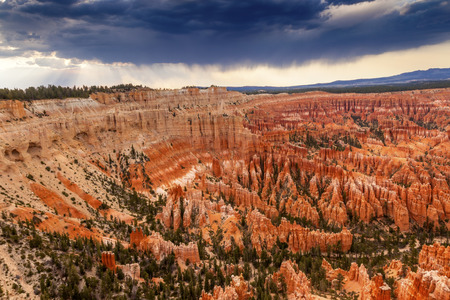 storm coming: Dark Clouds Storm Coming Amphitheater Hoodoos Bryce Point Bryce Canyon National Park Utah