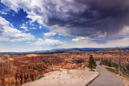 hoodoos: Rain Storm Clouds Amphitheater Hoodoos Bryce Point Bryce Canyon National Park Utah Stock Photo