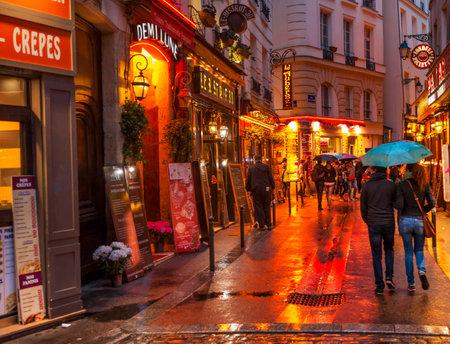 Wine Bars Restaurants Colorful Rainy Streets Tourists Lovers Walking Latin Quarter West Bank Seine Latin Quarter Rue De La Harpe Paris France