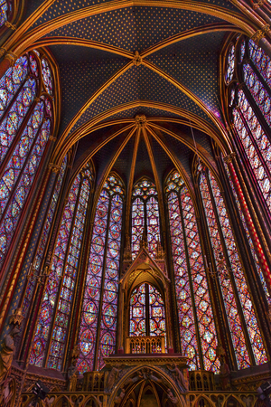 9th: Stained Glass Cathedral Ceiling Altar Saint Chapelle Paris France.  Saint King Louis 9th created Sainte Chappel in 1248 to house Christian relics, including Christs Crown of Thorns.  Stained Glass created in the 13th Century and shows various biblical st