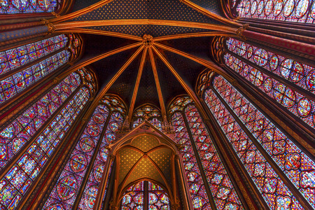 chappel: Stained Glass Cathedral Ceiling Saint Chapelle Paris France.  Saint King Louis 9th created Sainte Chappel in 1248 to house Christian relics, including Christs Crown of Thorns.  Stained Glass created in the 13th Century and shows various biblical stories