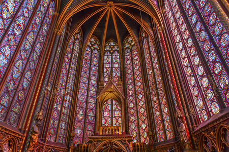 chappel: Stained Glass Saint Chapelle Cathedral Paris France.  Saint King Louis 9th created Sainte Chappel in 1248 to house Christian relics, including Christs Crown of Thorns.  Stained Glass created in the 13th Century and shows various biblical stories along wt Editorial