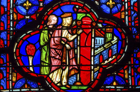 9th: Queen Entering Jerusalem Medieval Life Stained Glass Saint Chapelle Paris France.  Saint King Louis 9th created Sainte Chapelle in 1248 to house Christian relics, including Christs Crown of Thorns.  Stained Glass created in the 13th Century and shows var