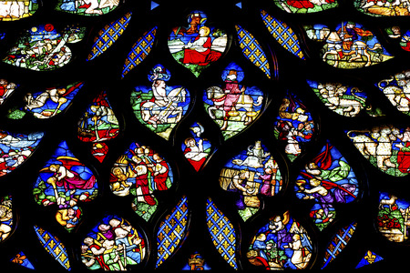Biblical Medieval Stories Horses Angels  Rose Window Stained Glass Saint Chapelle Paris France.  Saint King Louis 9th created Sainte Chappel in 1248 to house Christian relics, including Christs Crown of Thorns.  Stained Glass created in the 13th Century