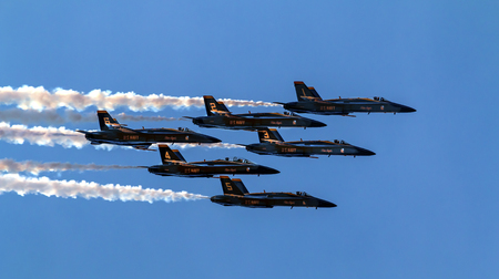 Blue Angels Jets aiirplanes In Formation Fying Over Seattle Washington