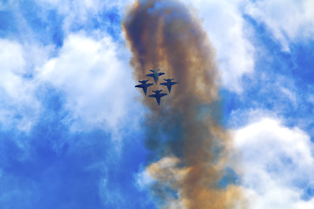 jets: Blue Angels Jets aiirplanes In Formation Fying Over Seattle Washington