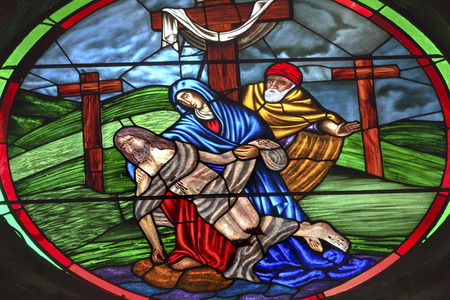 mary and jesus: Pieta Mary Jesus Stained Glass  Parroquia Archangel church San Miguel de Allende, Mexico. Parroaguia created in 1600s and facade created in 1880s. Editorial