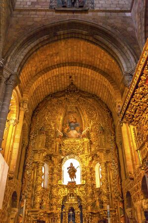 Cathedral Altar Avila Castile Spain  Gothic church built in the 1100s.  Avila is a an ancient walled medieval city in Spain. Editorial