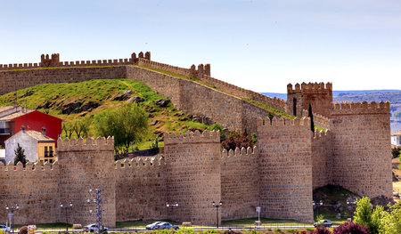 conquer: Avila Ancient Medieval City Walls Castle Castile Spain.  Avila is described as the most 16th century town in Spain.  Walls created in 1088 after Christians conquer and take the city from the Moors