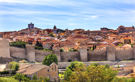 conquer: Avila Ancient Medieval City Walls Castle Swallows Castile Spain.  Avila is described as the most 16th century town in Spain.  Walls created in 1088 after Christians conquer and take the city from the Moors