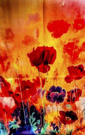 poppy: China colorida bufanda de seda de la flor de la decoración de jardín de Yuyuan de Shanghai de China