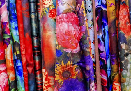 Chinese Colorful Flower Silk Scarves Decoration Yuyuan Garden Shanghai China Фото со стока