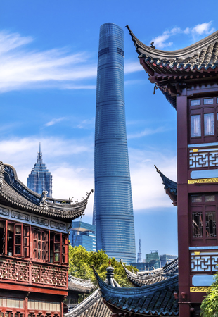 tradition: Shanghai Tower, Second Tallest Building in World, Jin Mao Tower from Yuyuan Garden, Old Town, Shanghai China Editorial
