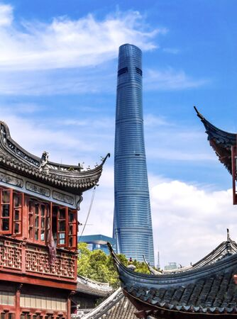 tradition: Shanghai Tower, Second Tallest Building in World, from Yuyuan Garden, Old Town, Shanghai China