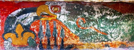 Ancient Bird Colorful Painting Mural Wall Indian Ruins at Teotihuacan Mexico City Mexico.  Palace of Quetzalpapaloli.  Ancient ruins date back to 100 to 750AD. Stok Fotoğraf
