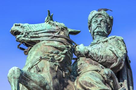 founder: Bogdan Khmelnitsky Equestrian Statue Sofiyskaya Square Kiev Ukraine. Founder of Ukraine Cossack State in 1654. Statue created 1881 by Sculptor Mikhail Mykeshin