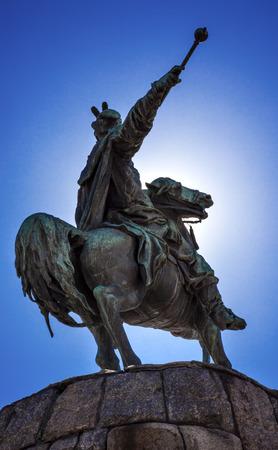 the founder: Bogdan Khmelnitsky Equestrian Statue Sofiyskaya Square Kiev Ukraine. Founder of Ukraine Cossack State in 1654. Statue created 1881 by Sculptor Mikhail Mykeshin