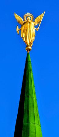 spires: Archangel Michael Statue Entrance Saint Sophia Sofia Cathedral Spires Towe Golden Dome Sofiyskaya Square Kiev Ukraine.  Saint Sophia is oldest Cathedral and Church in Kiev.  Saint Sofia was built by King Yaroslov the Wise in 1037.