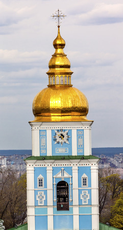 saint michael: Saint Michael Monastery Cathedral Tower Golden Domes Kiev Ukraine.  Saint Michaels is a functioning Greek Orthordox Monasatery in Kiev.  The original monastery was created in the 1100s but was destroyed by the Soviet Union in the 1930s.  St. Michaels was