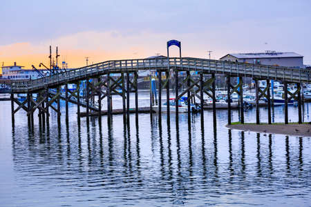 grays: Wooden Bridge Westport Grays Harbor Puget Sound Washington State Pacific Northwest Stock Photo
