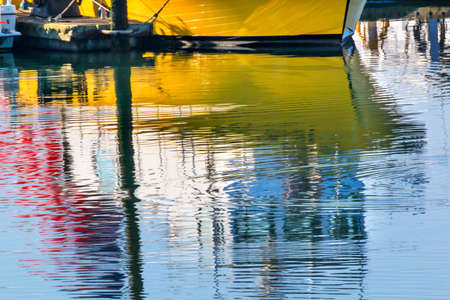pacific northwest: Yellow Sailboat Reflection Westport Grays Harbor County Puget Sound Washington State Pacific Northwest