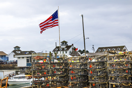 crab pots: Maritime Museum Flag Crab Pots Westport Grays Harbor Puget Sound Washington State Pacific Northwest