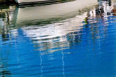 puget sound: White Boat Motorboat Reflection Westport Grays Harbor County Puget Sound Washington State Pacific Northwest