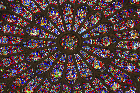 North Rose Window Virgin Mary Jesus Disciples Stained Glass Notre Dame Cathedral Paris France.  Notre Dame was built between 1163 and 1250 AD.  Virgin Mary Rose Window oldest in Notre Dame from 1250.