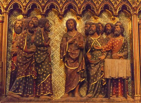 disciples: Jesus Christ Twelve Disciples Wooden Panel Statues Sculpture Notre Dame Cathedral Paris France.  Notre Dame was built between 1163 and 1250AD.