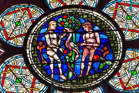 Adam Eve Vitrail Notre Dame Paris France. Notre Dame a été construite entre 1163 et 1250AD. Éditoriale