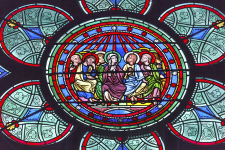 disciples: Three Kings Mary Jesus Christ Stained Glass Notre Dame Cathedral Paris France.  Notre Dame was built between 1163 and 1250AD.