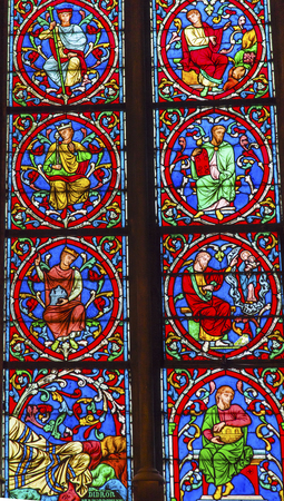 medieval king: Kings Jesus Christ Stained Glass Notre Dame Cathedral Paris France.  Notre Dame was built between 1163 and 1250AD.