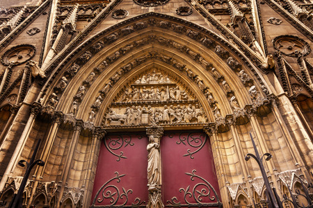 new ages: Biblical Statues Cloisters Door Notre Dame Cathedral Paris France.  Notre Dame was built between 1163 and 1250AD. Stock Photo