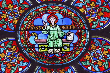 saint stephen cathedral: Saint Stephen Stained Glass Notre Dame Cathedral Paris France.  Notre Dame was built between 1163 and 1250AD.