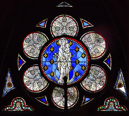 notre dame cathedral: White Mary Jesus Christ Stained Glass Notre Dame Cathedral Paris France.  Notre Dame was built between 1163 and 1250AD. Editorial