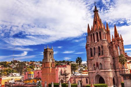 san rafael: Parroquia Archangel church Town Square Rafael Church San Miguel de Allende, Mexico. Parroaguia created in 1600s.