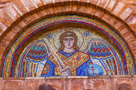 saint michael: Ancient Saint Michael Mosaic Mikhaylovsky Church Vydubytsky Monastery Kiev Ukraine.