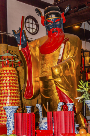 spirtual: Guan Yu Taoist God Statue Famous Warrior Romance of Three Kingdoms Roof City God Temple Yueyuan Shanghai China Most famous Taoist temple in Shanghai