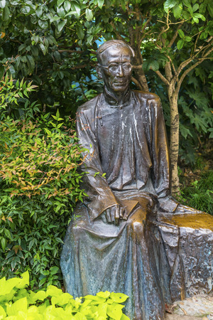 spirtual: Ruo Shi Statue, Famous Chinese Writer, Statue Old Duolon Cultural Road Hongkou District Shanghai China. Old Shanghai Houses and Street built during revolutionary time and home of several famous writers