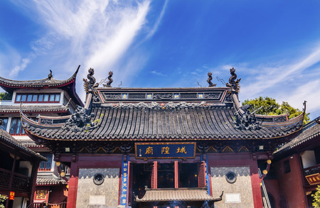 spirtual: Taoist God Statues Roof City God Temple Yueyuan Shanghai China Most famous Taoist temple in Shanghai