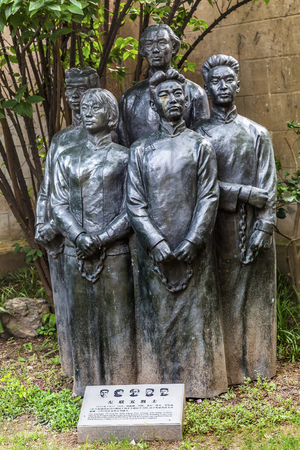 spirtual: League of Leftisti Writers Martyrs Bronze Statue Old Duolon Cultural Road Hongkou District Shanghai China. Writers killed by Kuomintang in War of Indepndence, Duolun Road has 0ld Shanghai Houses and Street built during revolutionary time and home of sever Editorial