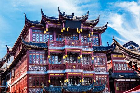 올드 상하이 주택, 빨간 지붕, 예원 올드 타운, 중국 상하이