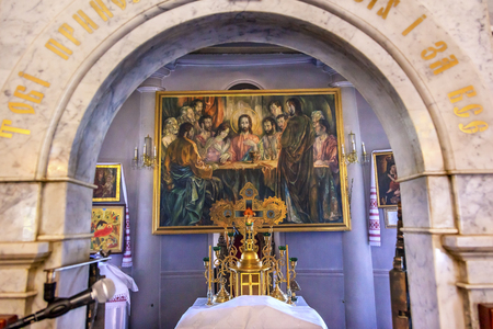 'saint nicholas': Altar Last Supper Painting Interior Church Saint Nicholas Askolds Grave Kiev Ukraine. Ukrainian Greek Catholic Church created 1810.  Askolds Graveyard has many famous Ukrainians buried there.